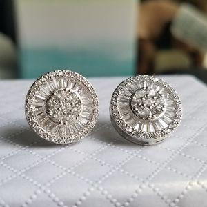 Swarovski Elements 925 Silver Round Earrings NEW